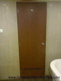 Bathroom door with towel hanger