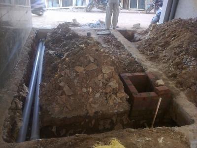 Plumbing lines in Ground floor 2