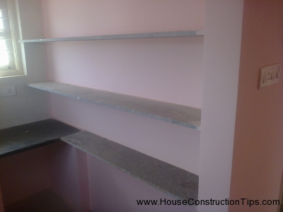 Kitchen shelfs with granite