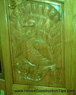 Teak Door Design 2 Peacock