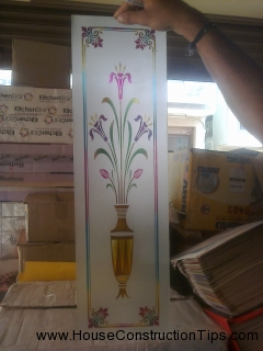Puja room glass design
