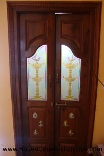 Puja room door and glass designs for Door design with highlighter